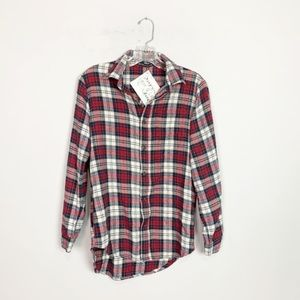 Brandy Melville   plaid oversized flannel red OS